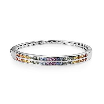 AAA Rainbow Sapphire Stacker Bangle Silver Platinum Plated Size 7.25