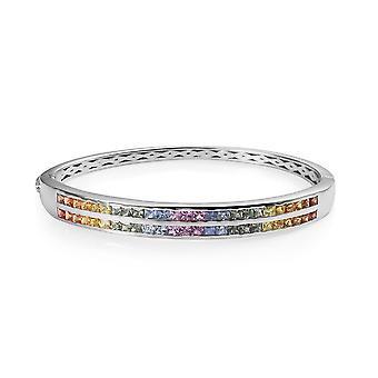 AAA Rainbow Sapphire Stacker Bangle Silver Platina Pläterad Storlek 7,25