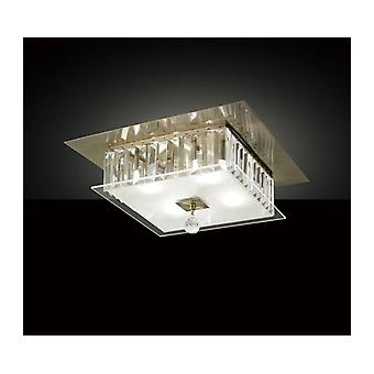 Tosca Square Plafond Light 4 Ampoules Antique Laiton / Verre / Cristal