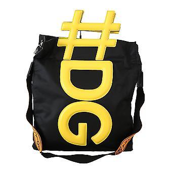 Black yellow #dg men shoulder strap shopping tote bag