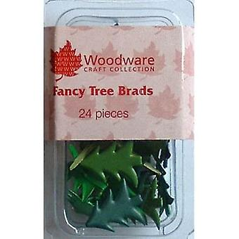 Woodware Fancy Christmas Tree Brads (24 Pack)