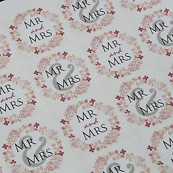 'Mr and Mrs' Wedding Stickers Square with Round Wreath x 35 Favours