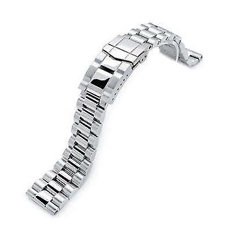 Strapcode watch bracelet 22mm endmill 316l stainless steel watch bracelet straight end, brushed & polished submariner clasp