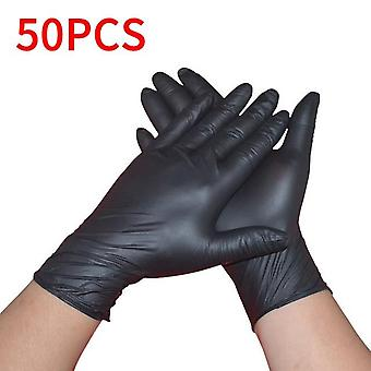 100pcs Universal For Left and Right Hand Black - Blue Disposable Latex Gloves For Home Cleaning Nitrile/Food/Rubber/Garden Gloves