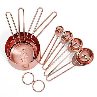 Stainless Steel Measuring Cups and Spoons Set of 8 Engraved-MeasurementsPouring Spouts-Rose Gold