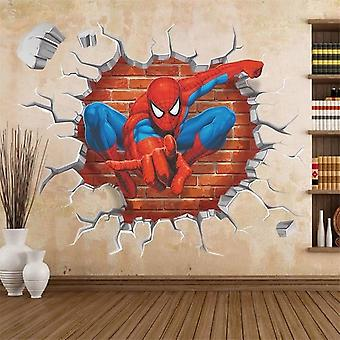 3d Hole Spiderman Wall Stickers Rooms