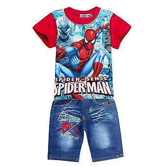 Spider-Man Cartoon Shirt And Jeans Shorts, Toddler