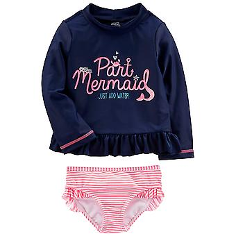 Simple Joys by Carter's Baby Girls' Toddler 2-Piece Rashguard Set, Navy/Pink,...