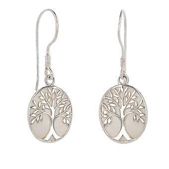 ADEN 925 Sterling Silver White Mother-of-pearl Tree of Life Oval Shape Oorbellen (id 4094)