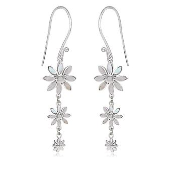 ADEN 925 Sterling Silver Shell 3 Flowers Earrings (id 4550)