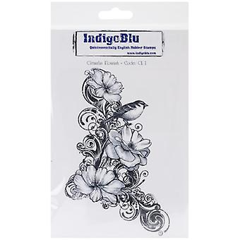 IndigoBlu Clematis blomstre montert A6 gummi stempel