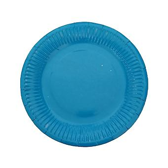 10PCS 7 Inch Solid Color Circle Tray Light Blue