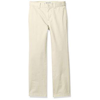 Essentials Boy's Straight Leg Flat Front Uniform Chino Pant, Light Kha...