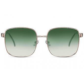 نظارات شمسية Unisex مستطيلة كامل مؤطرة القط. 3 الذهب / الأخضر
