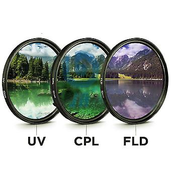 49mm 52mm 55mm 58mm 62mm 67mm 72mm 77mm 3 In 1 Lens Filter-set With Bag Uv+cpl+fld For Cannon/nikon/sony Camera Lens