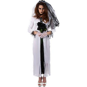 Womens Gothic Ghost Bride Halloween Fancy Dress Costume