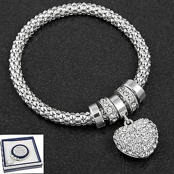 Diamante Heart Charm Silver Plated Bracelet - Gift Boxed