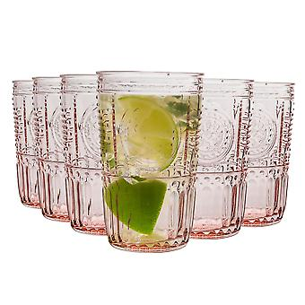 Bormioli Rocco Romantic Highball Glasses Set - Vintage Italian Cut Glass Cocktail Tumblers - 475ml - Pink - Pack of 6