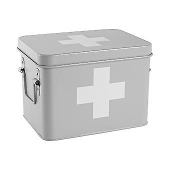 Vintage EHBO-opslagbus - Metal Square Box Airtight Seal - Grijs