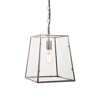 Endon Lighting Hurst - Hanger Bright Nickel Plate & Clear Glass 1 Light Dimable IP20 - E27
