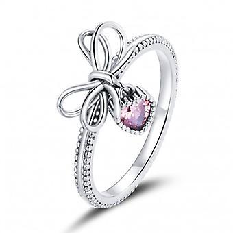 Sterling Silber Ring Fliege Mit Herz - 6858