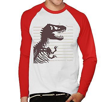 Jurassic Park T Rex Skeleton Destroying Wire Men's Baseball Pitkähihainen T-paita