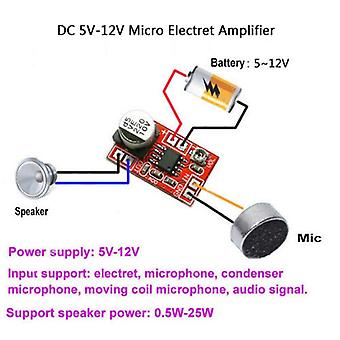 Dc 5v-12v مايكرو Electret مكبر للصوت ميكروفون المكثف، مكبر صوت ميكروفون صغير