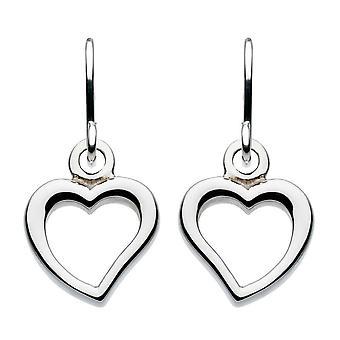 Dew Sterling Silver Small Open Heart Drop Earrings 60C2HP016