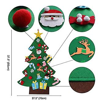 Diy Felt Christmas Tree Set 26pcs Detachable Ornaments, Kids Wall Hanging Xmas Gifts For Christmas Decorations