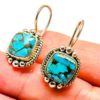 "Blue Copper Composite Turquoise Earrings 1 1/8"" (925 Sterling Silver)  - Handmade Boho Vintage Jewelry EARR408091"