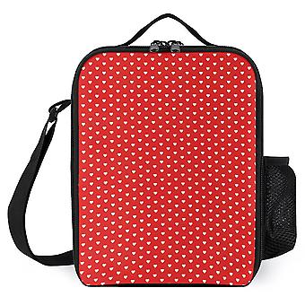 Small White Heart Pattern On Red Background Printed Lunch Bags
