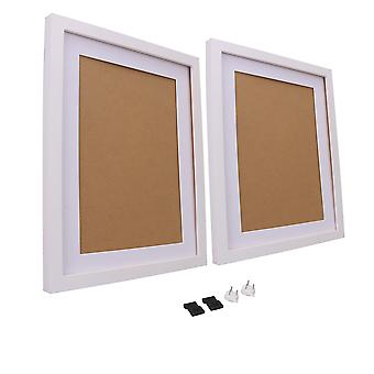 Image Photo Frame 11Inchx14Inch with Mat for Tabletop Display White Set of 2
