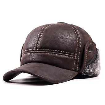 Winter Genuine Leather Suede Bomber Hat, Man Nubuck Thick Head Warm Dome Caps