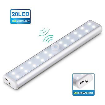 Lamp Wardrobe Night Light 20 Leds Tube Lamp Rechargeable Usb Movement Detector With Infrared Sensor - Ideal For Wardrobe Cupboards