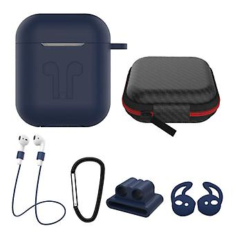 Stuff Certified® 6 in 1 Kit for AirPods 1/2 Blue - Case / Anti-Lost Strap / Carabiner / Storage case / Carrying strap / 2x Dust cover
