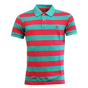 Timberland Earthkeepers Red Green Striped Cotton Mens Polo Shirt 4465J 672 RW86