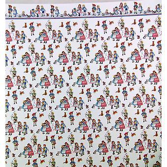 Panenky Dům Miniaturní tisk 1:12 Měřítko Tapety Dětské Říkanka Bílá