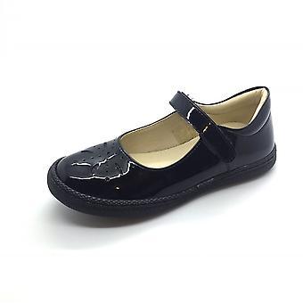 PRIMIGI Mary Jane Shoe Velcro Punched Detailing Black Patent