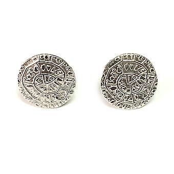 Sterling zilveren Rhodium Plated schijf van Phaistos Stud Earrings Stud Earrings