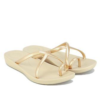 Women's Fit Flop iQushion Wave Pearlised Cross Slide Sandals in Gold