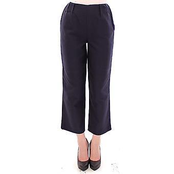 Blue cropped cotton pants