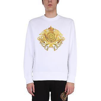 Versace Jeans Couture B7gwa74130453003 Heren's White Cotton Sweatshirt