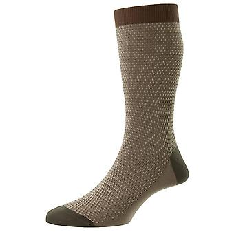 Pantherella Petworth Pique Contrast Heel and Toe Fil D'Ecosse Socks - Mid Brown