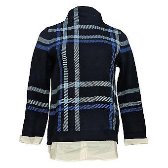 Isaac Mizrahi Live! Women's Sweater Plaid Jacquard Woven Hem Blue A371848