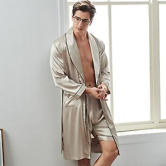 Ensembles de shorts de robe de couchage de l'homme de soie, peignoirs à manches longues masculins de sleepwear