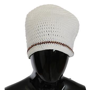 Blanco algodón tejido cadena mujeres gorro sombrero