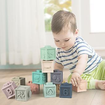 Soft Squeeze Teething pädagogische gestapelte Spielzeug, spielen mit Zahlen, Formen, Tiere und Obst 6Pcs