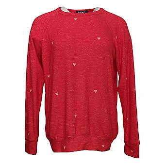 Buffalo Women's Top Printed Cozy Crew Neck Relaxed Fit Red