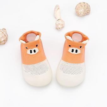 Baby Toddler Pig Hollow Out Shoes, Non-slip Anti-off Foot Short Floor Knitted