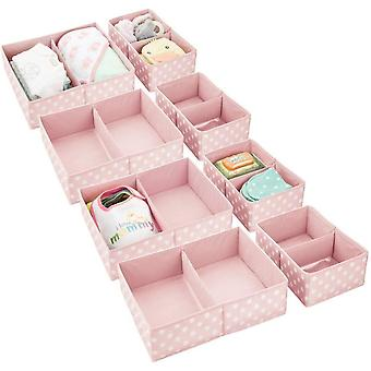 DZK Set of 8 Storage Box – 8 Fabric Organisers in 2 Sizes for the Nursery – Storage